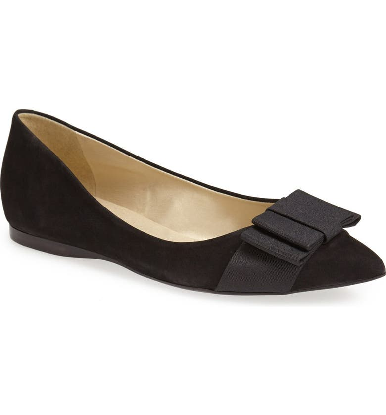 FRENCH SOLE 'Majestic' Flat, Main, color, BLACK SUEDE