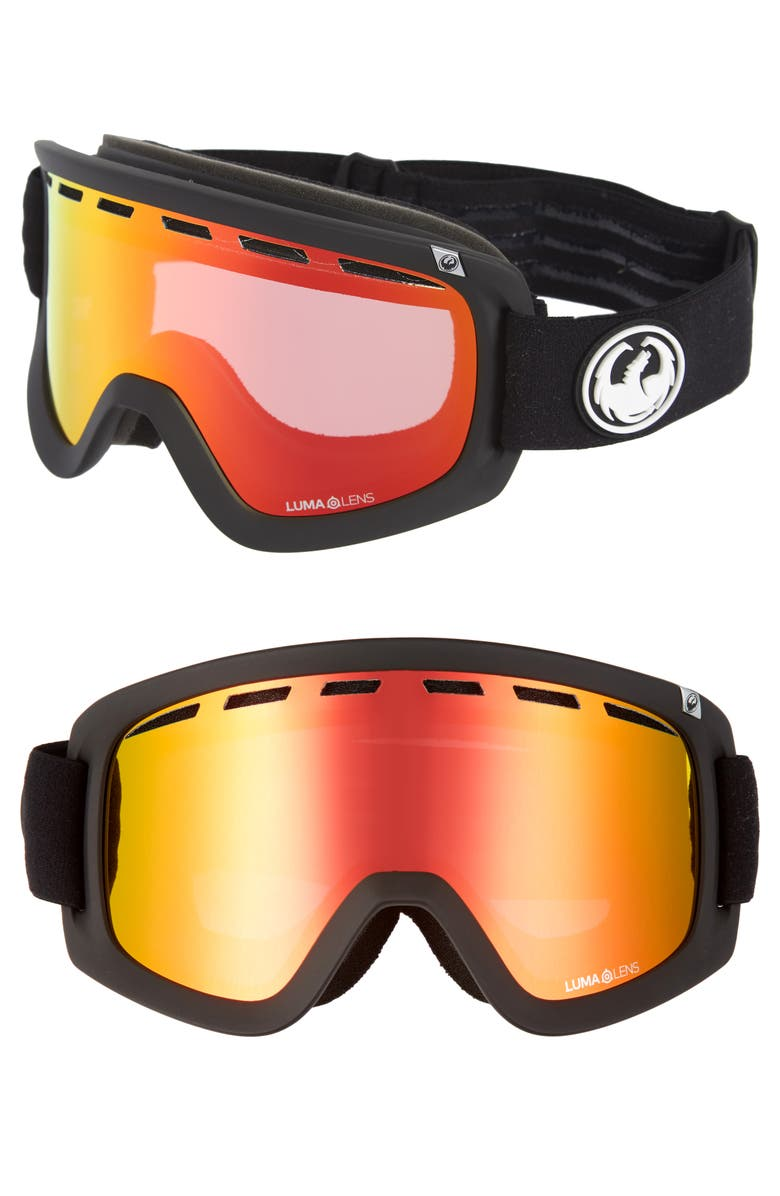 DRAGON D1 OTG Snow Goggles with Bonus Lenses, Main, color, BLACK/ REDION ROSE