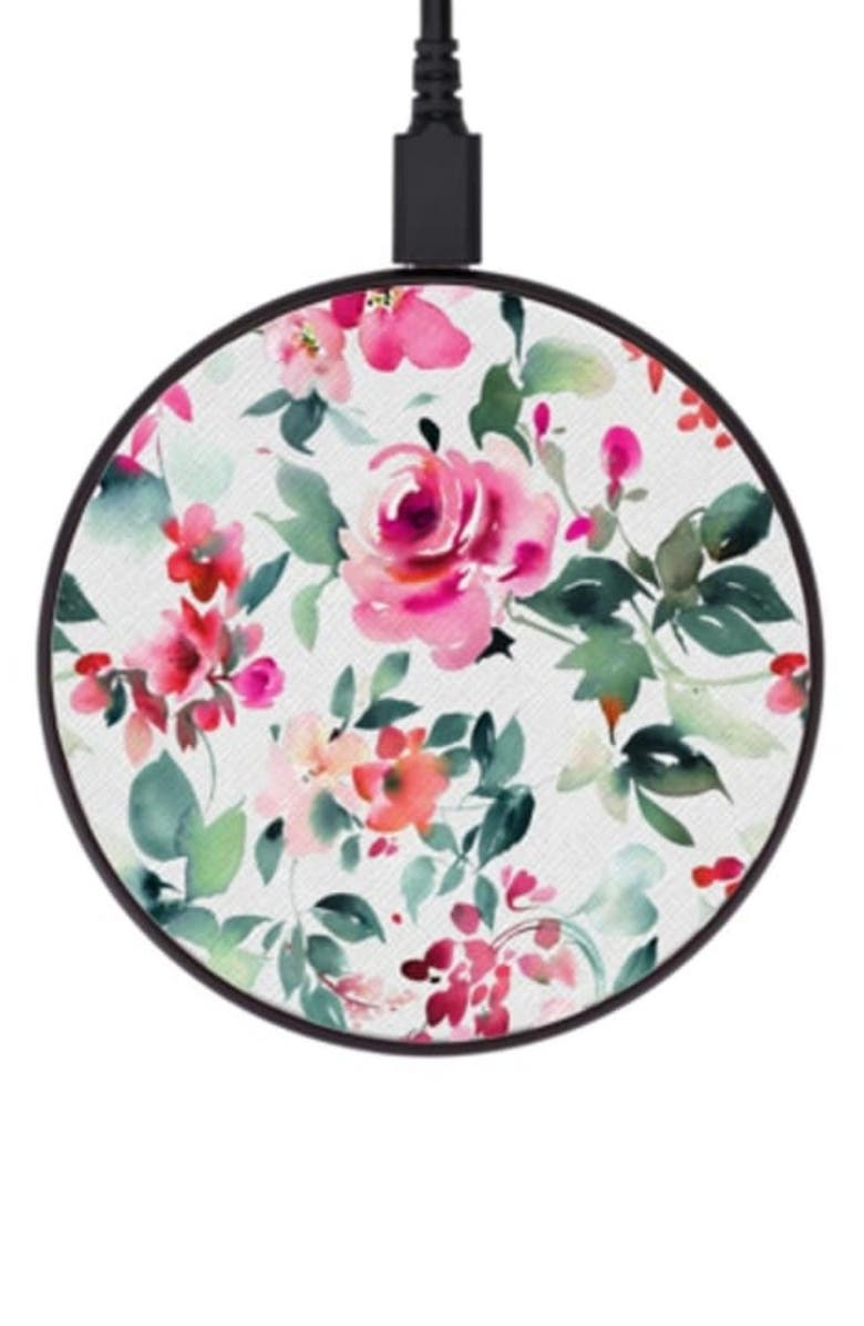 CASETIFY Bold Rose Wireless Charging Pad, Main, color, WHITE/PINK/GREEN