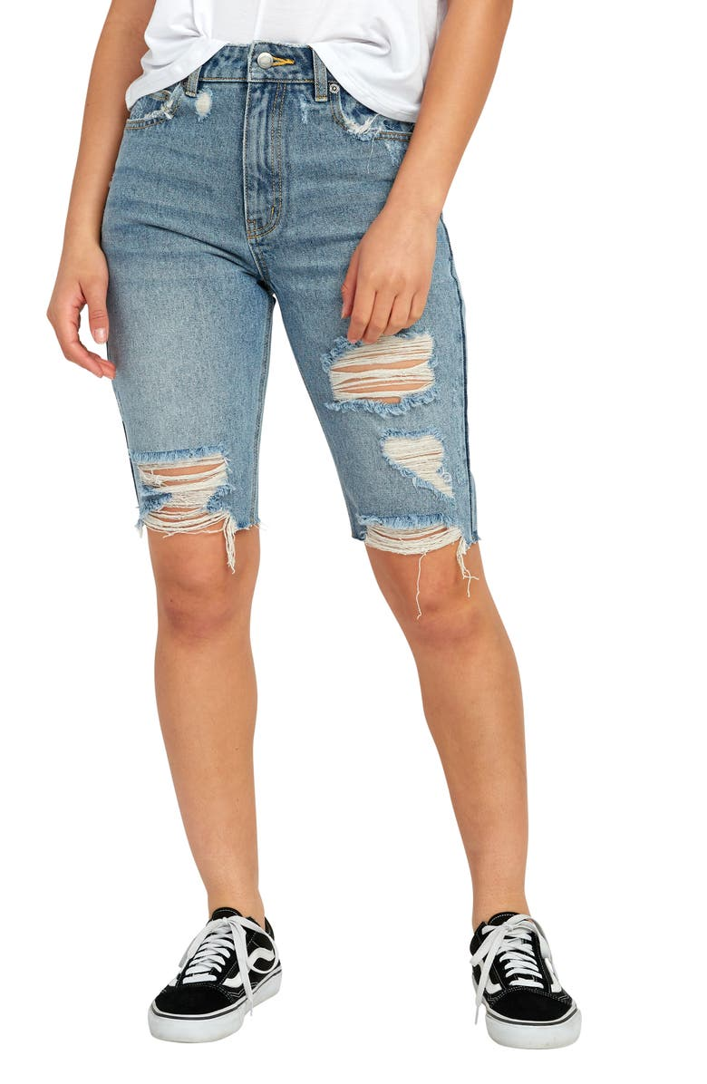 RVCA Off Road Ripped Denim Bermuda Shorts, Main, color, 400