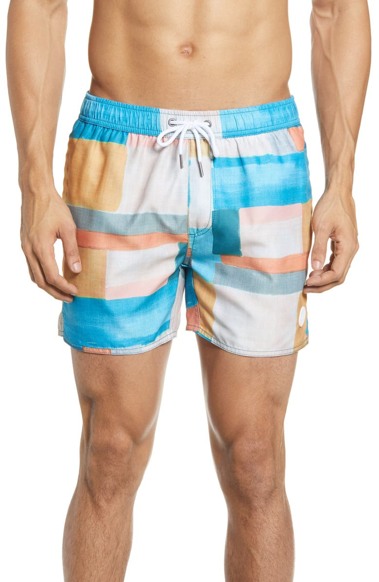 NATIVE YOUTH Geo Print Swim Trunks, Main, color, 700