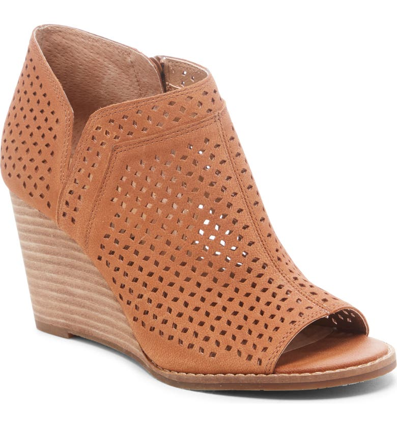 LUCKY BRAND Jazley Wedge Bootie, Main, color, LIGHT UMBER LEATHER