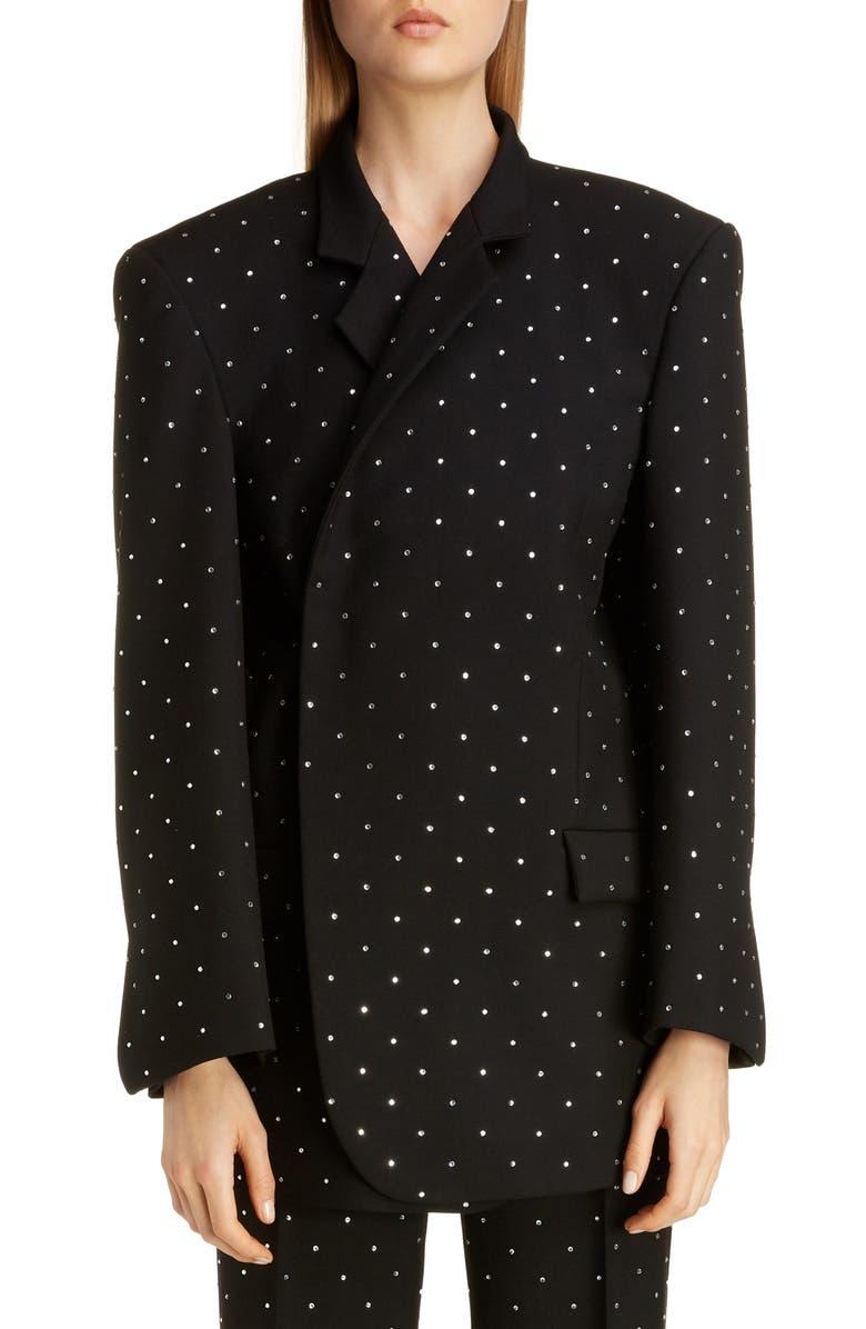 BALENCIAGA Oversize Rhinestone Wool Gabardine Blazer, Main, color, BLACK
