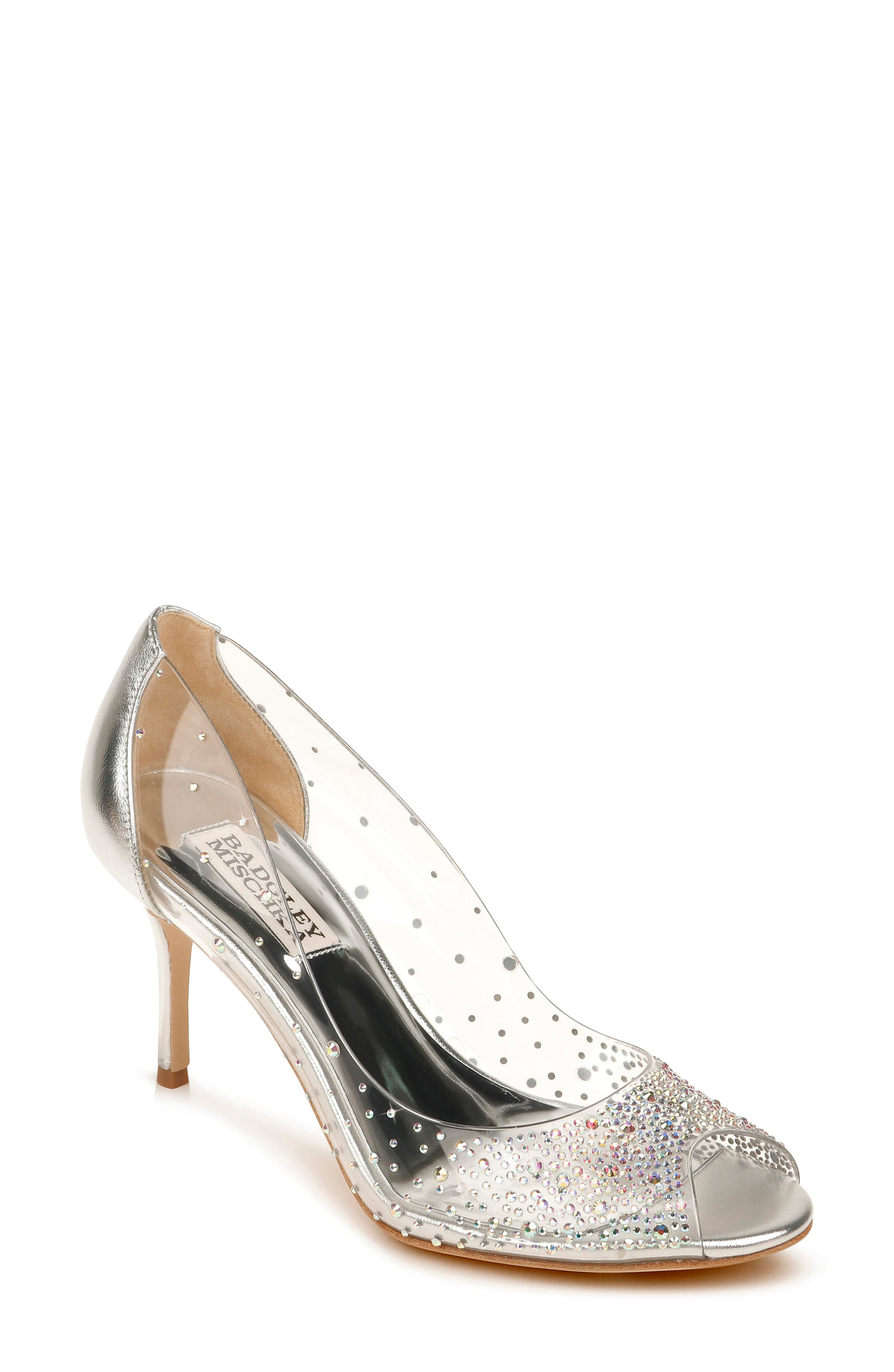 Sparkling crystals embellish the translucent sides of a glamorous peep-toe pump lifted by a classic tapered heel. Style Name: Badgley Mischka Ginata Embellished Peep Toe Pump (Women). Style Number: 6036684. Available in stores.
