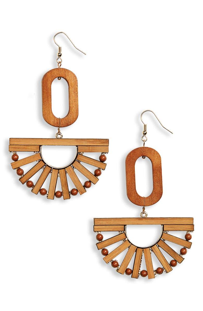 PANACEA Wood Fan Earrings, Main, color, 200