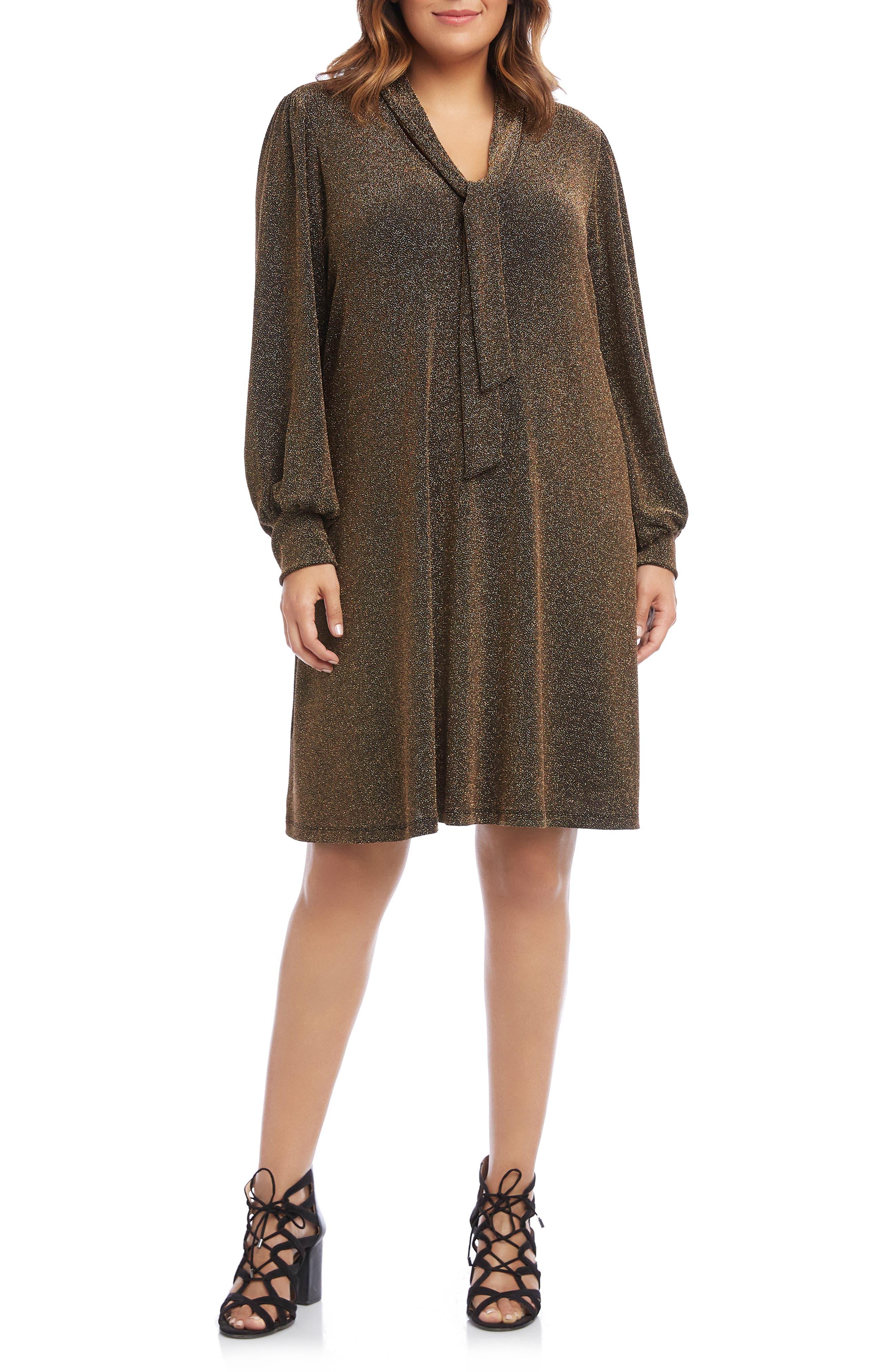 1930s Art Deco Plus Size Dresses | Tea Dresses, Party Dresses Plus Size Womens Karen Kane Taylor Tie Neck Sparkle Long Sleeve Dress Size 2X - Metallic $93.60 AT vintagedancer.com