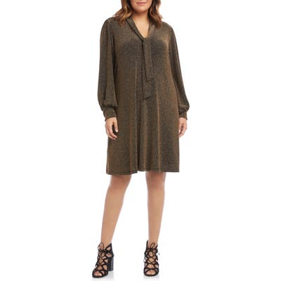 Plus Size Karen Kane Taylor Tie Neck Sparkle Long Sleeve Dress, Metallic