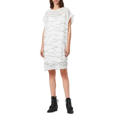 Allsaints Beaded Squiggle Detail Shift Dress, Ivory
