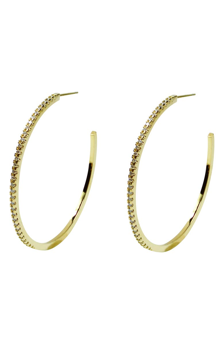 JULES SMITH Pavé Crystal Hoop Earrings, Main, color, 710