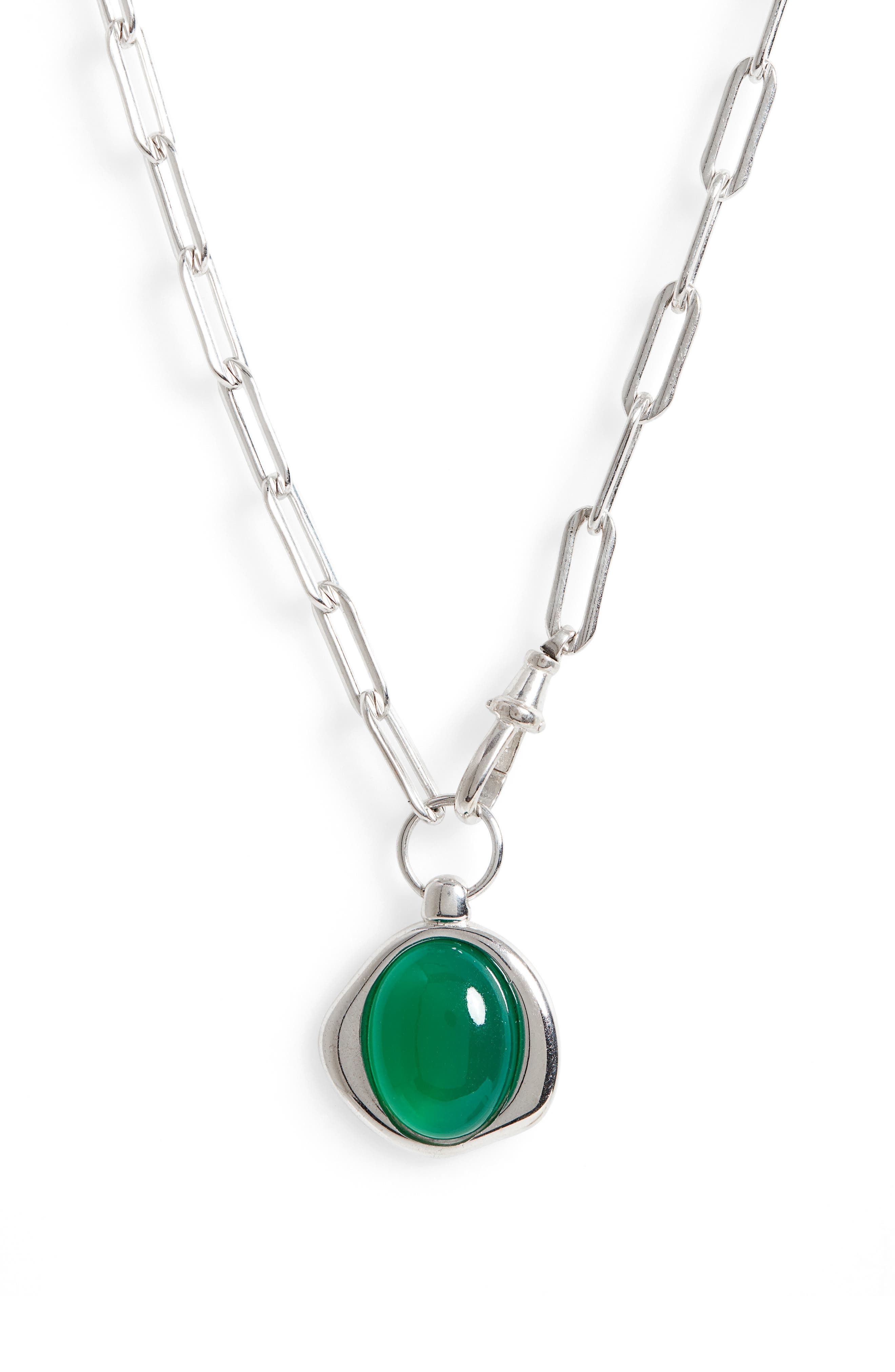 Green Agate Pendant Necklace
