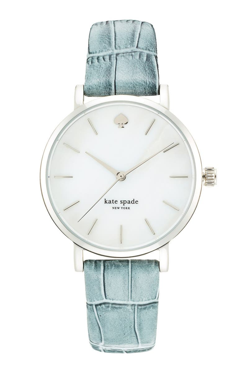 KATE SPADE NEW YORK 'metro' embossed leather strap watch, 34mm, Main, color, 020