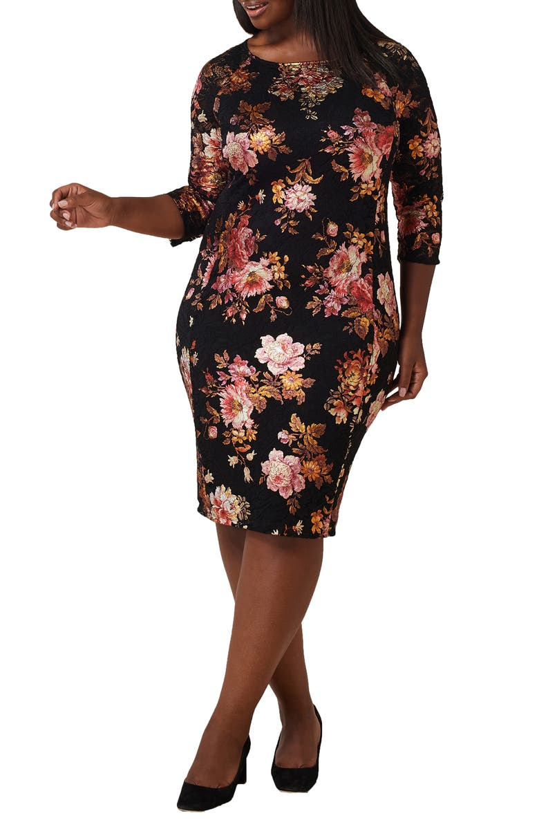 MARÉE POUR TOI Floral Lace Sheath Dress, Main, color, BLACK / RUST