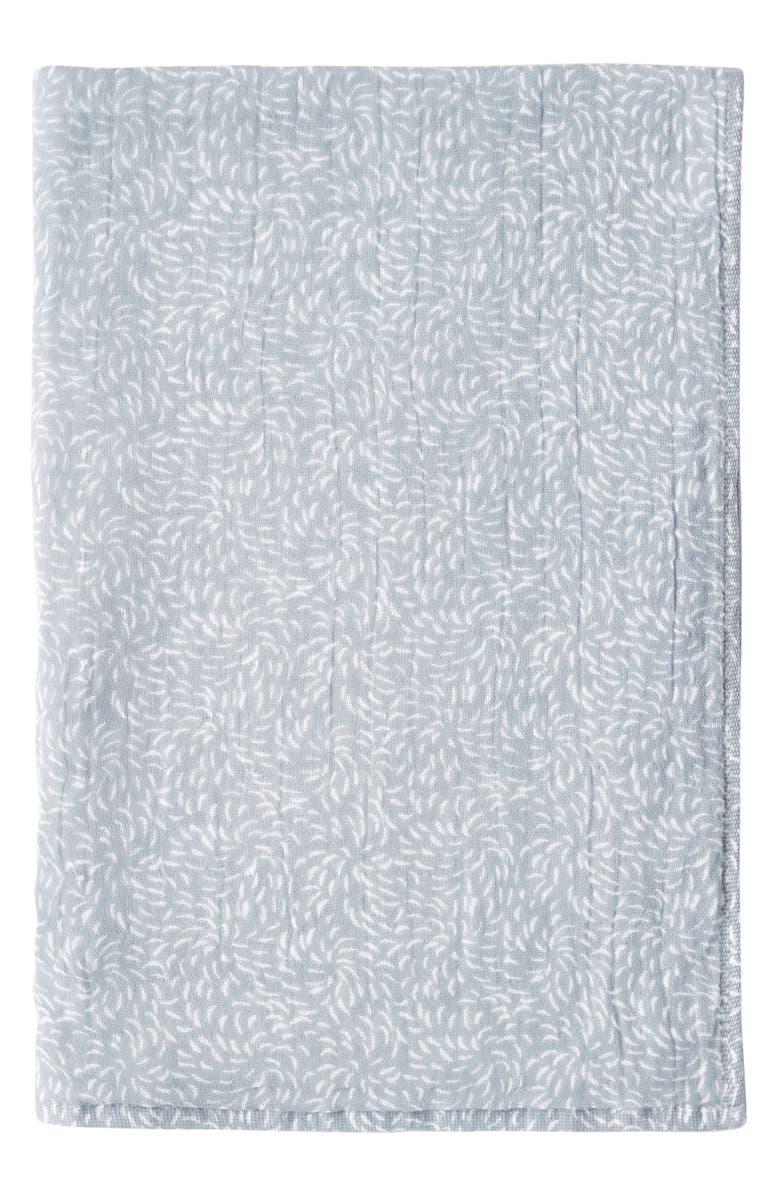 UCHINO Kiku Print Waffle & Pile Hand Towel, Main, color, OCEAN