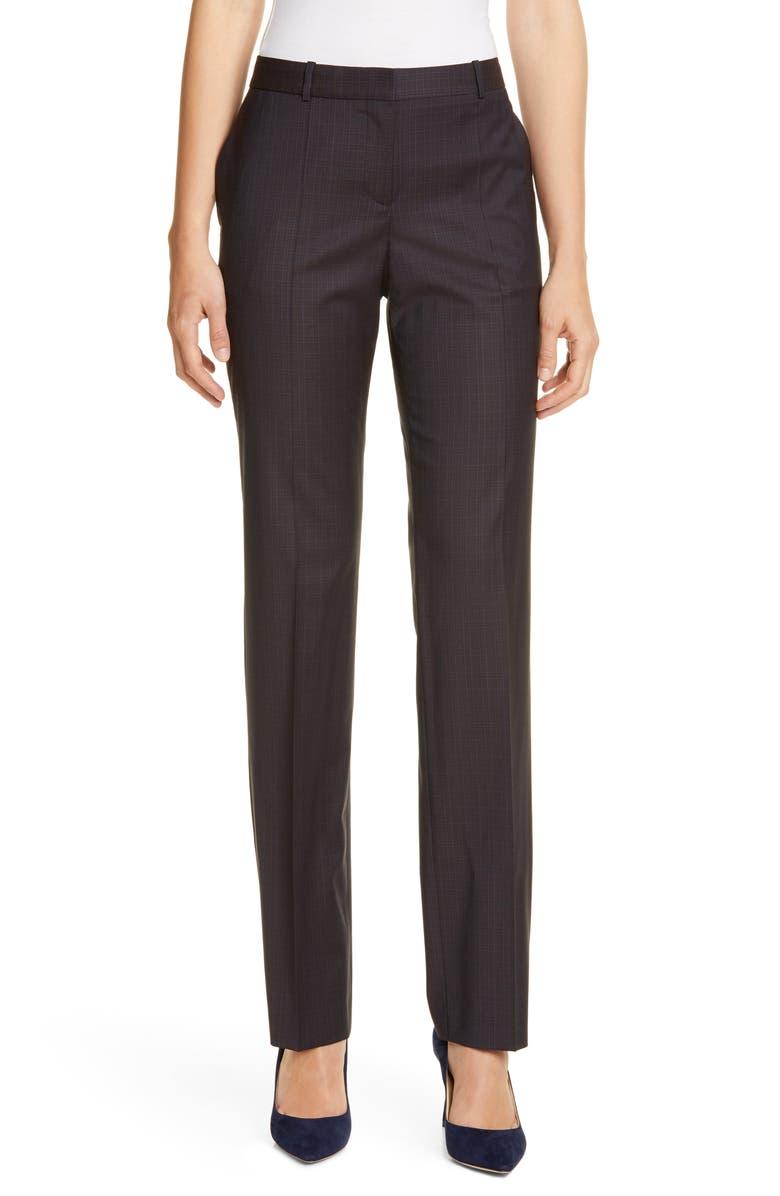 BOSS Teamea Rich Check Trousers, Main, color, TERRA FANTASY