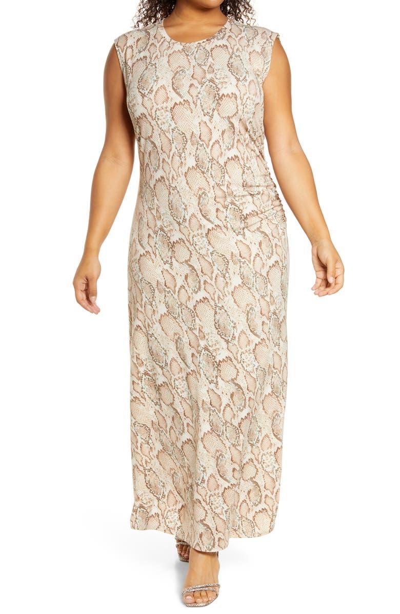 FOURTEENTH PLACE Side Ruched Dress, Main, color, SOFT SNAKE