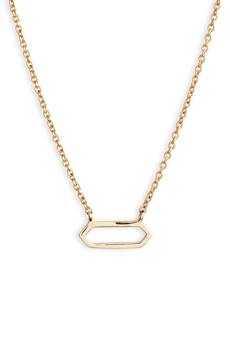 BONY LEVY Simple Obsessions Open Hexagon Pendant Necklace, Main, color, YELLOW GOLD