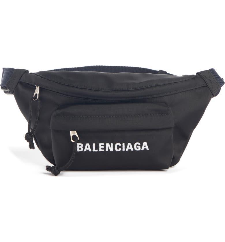 BALENCIAGA Wheel Nylon Belt Bag, Main, color, BLACK/ NAVY BLUE