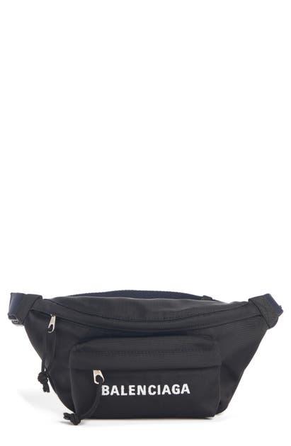 Balenciaga Wheel Small Nylon Logo Belt Bag In Black/ Navy Blue