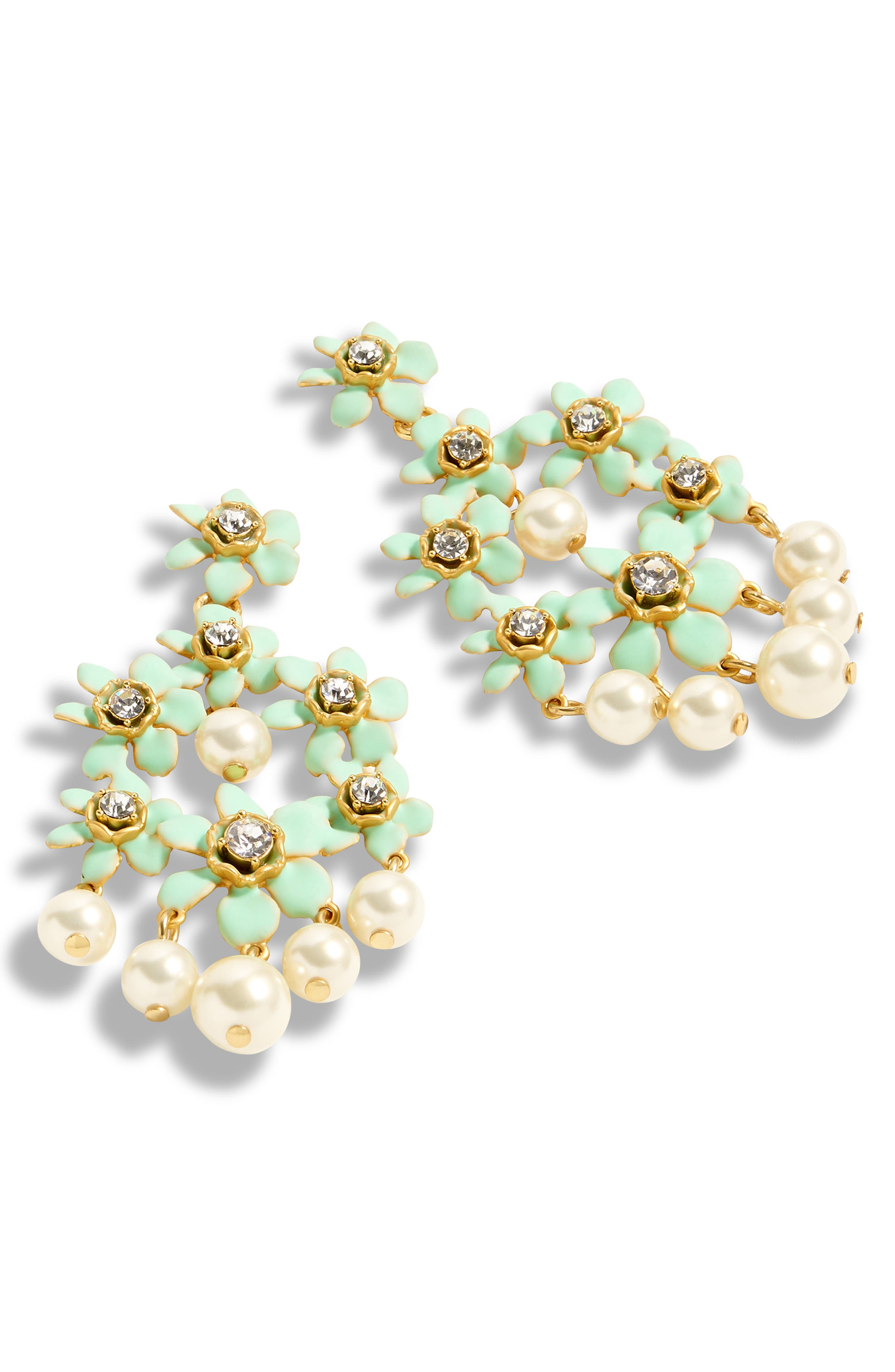 Pearl & Crystal Floral Chandelier Earrings, Main, color, 300