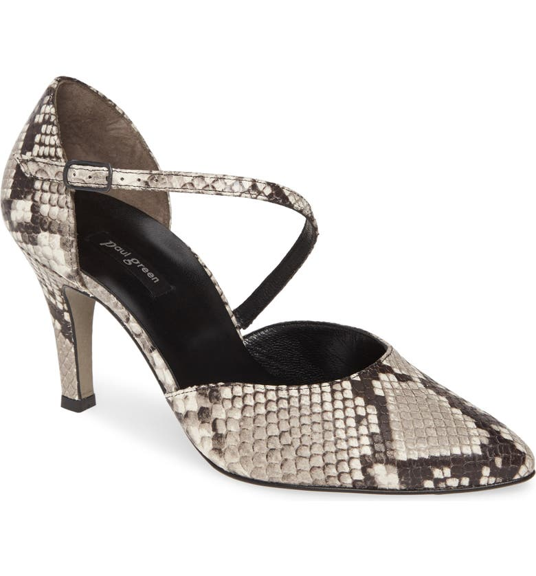 PAUL GREEN Valetta Pointy Toe Pump, Main, color, PEBBLE SNAKE