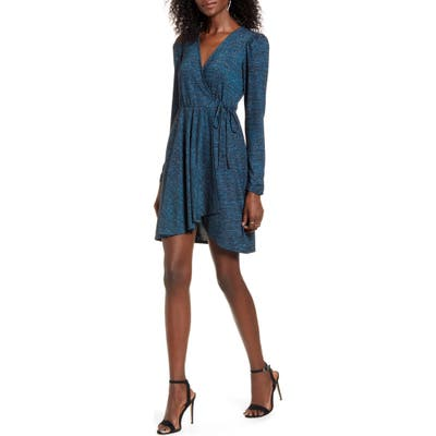 Band Of Gypsies Gemme Long Sleeve Faux Wrap Metallic Dress, Blue