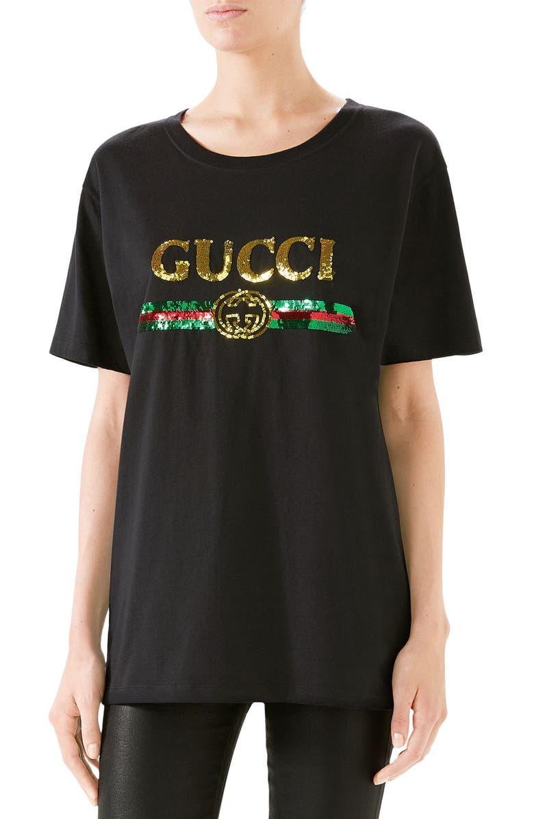 GUCCI Sequin Tiger Logo Tee, Main, color, BLACK/ MULTICOLOR