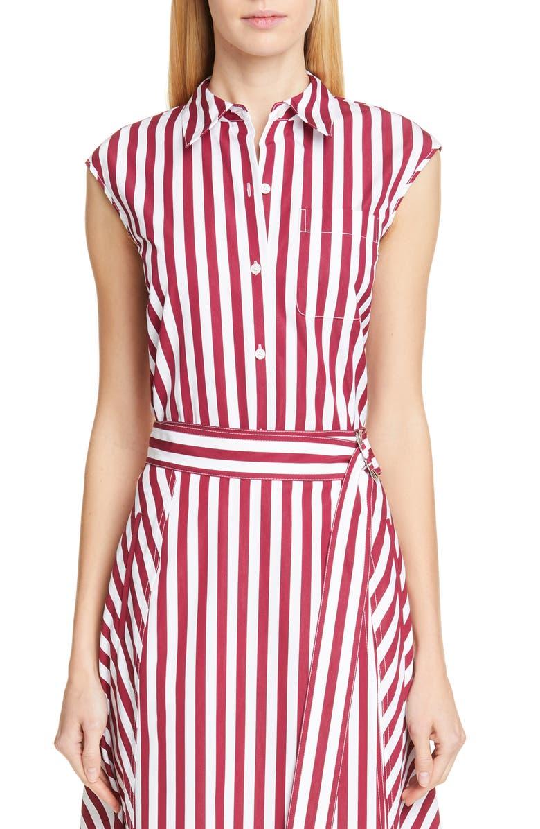 LAFAYETTE 148 NEW YORK Yani Stripe Shirt, Main, color, POPPY/ WHITE