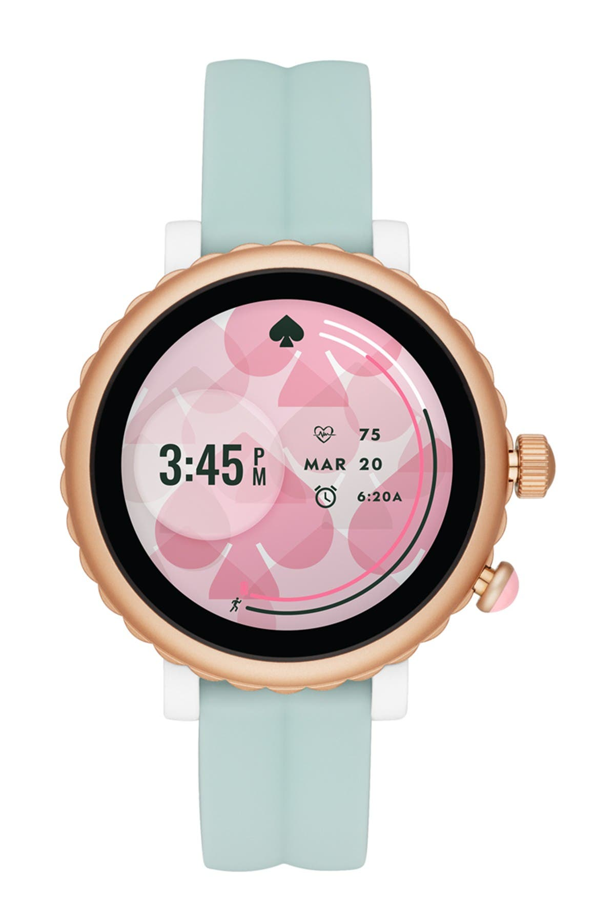Image of kate spade new york women's scallop silicone strap smart watch, 42mm