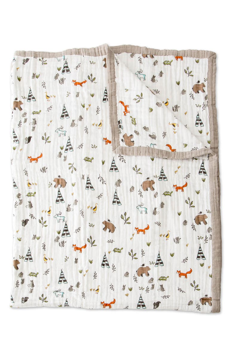 LITTLE UNICORN Cotton Muslin Quilt, Main, color, FOREST FRIENDS