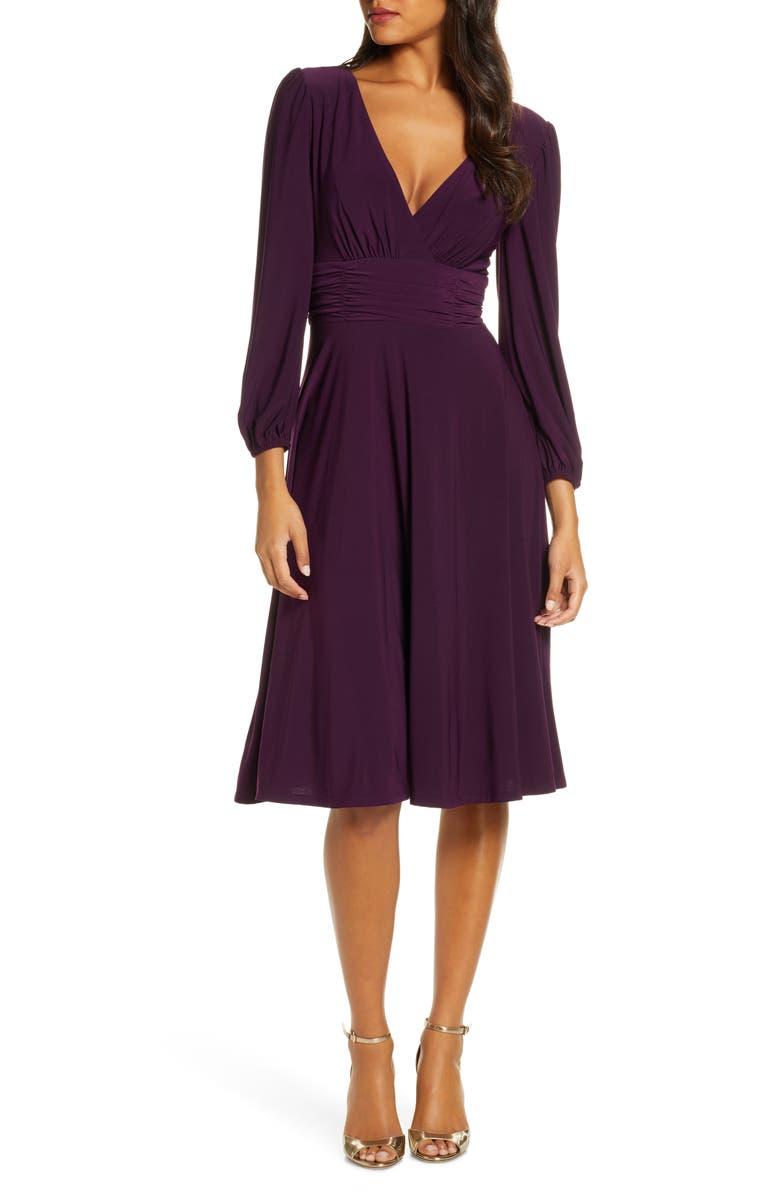 ELIZA J V-Neck Fit & Flare Dress, Main, color, AUBERGINE