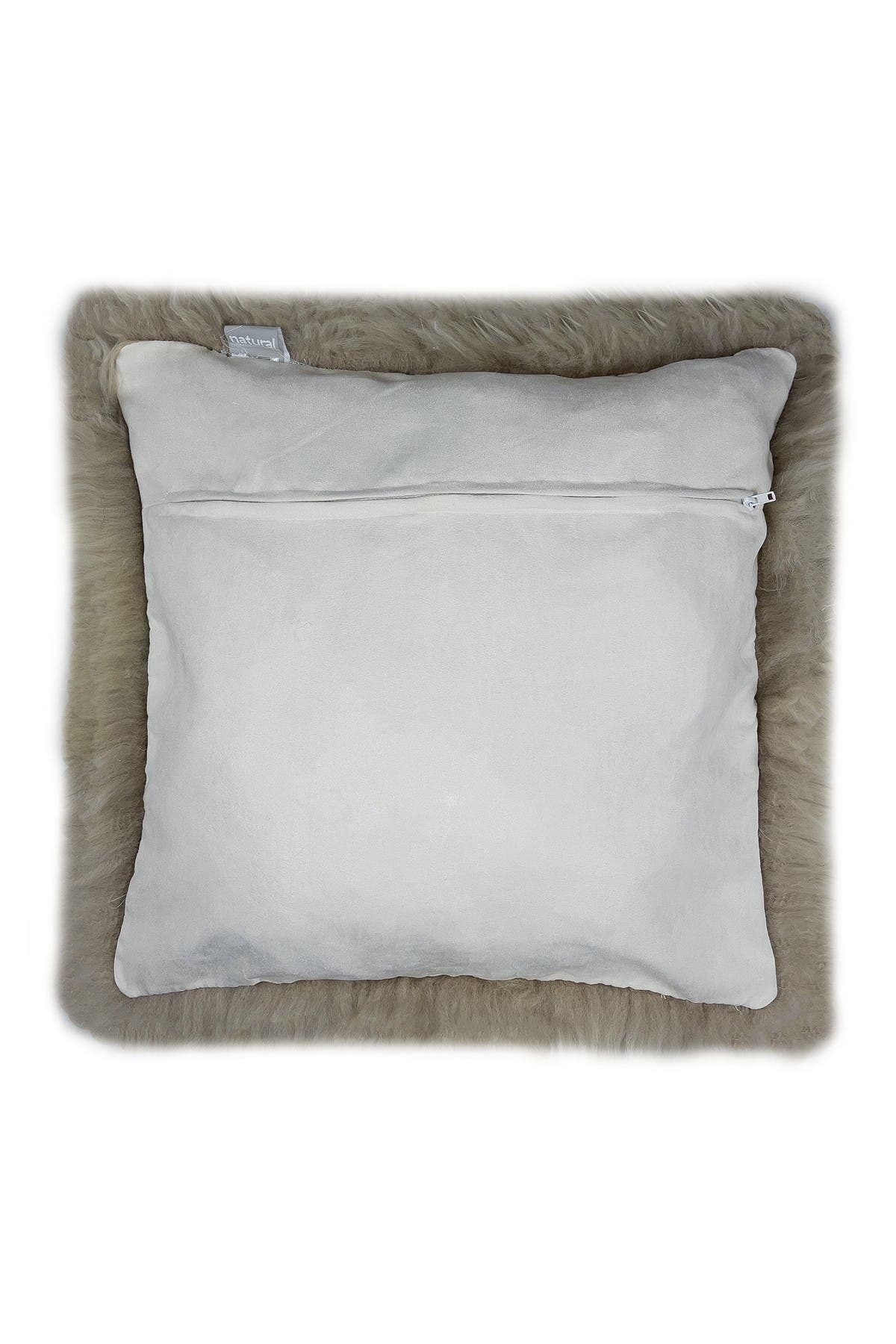 """Image of Natural New Zealand Genuine Sheepskin Pillow - 18"""" X 18"""" - Taupe - Set of 2"""