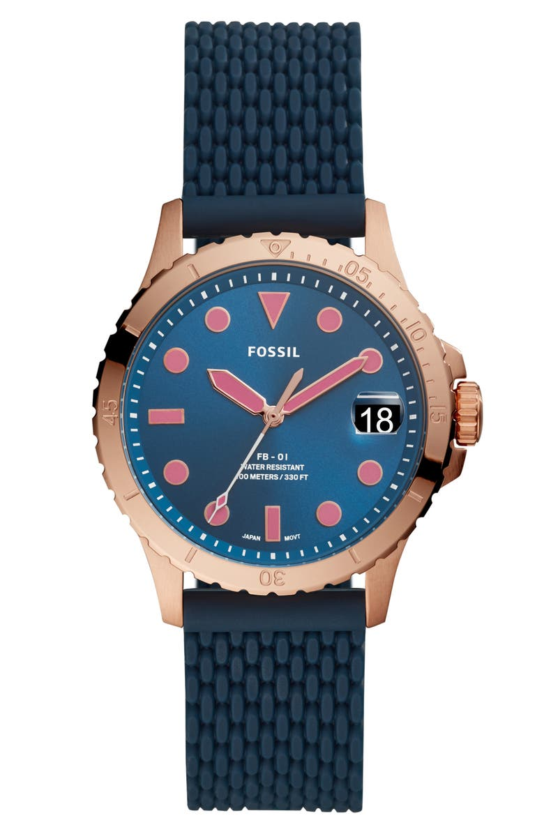 FOSSIL FB-01 Silicone Strap Watch, 36mm, Main, color, BLUE/ PINK/ ROSE GOLD
