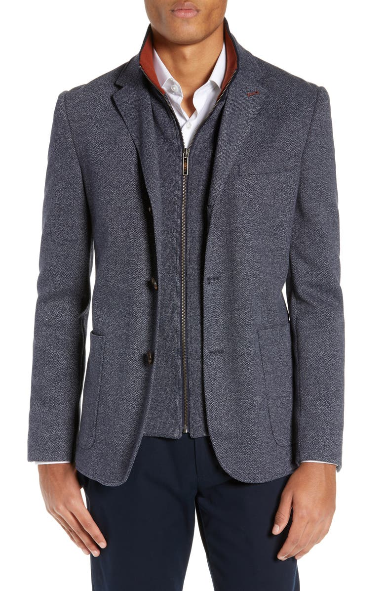 TED BAKER LONDON Cole Layered Look Herringbone Jacket, Main, color, 421
