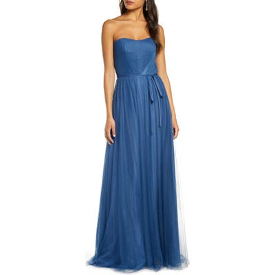 Marchesa Notte Strapless Tulle Bridesmaid Gown, Blue