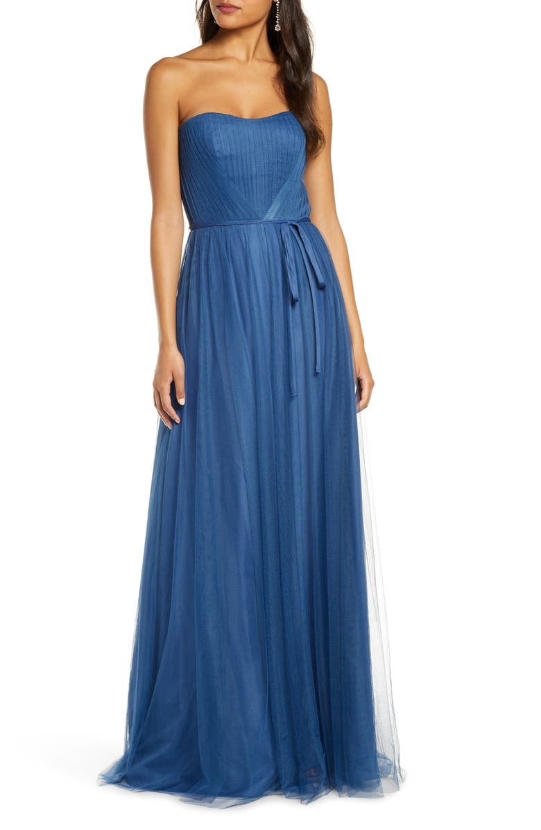 MARCHESA NOTTE Strapless Tulle A-Line Gown, Main, color, 435
