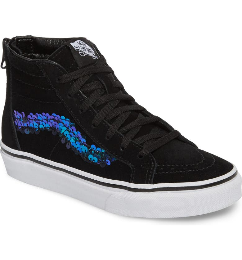 VANS Sk8-Hi Zip Sequin Stripe High Top Sneaker, Main, color, 001