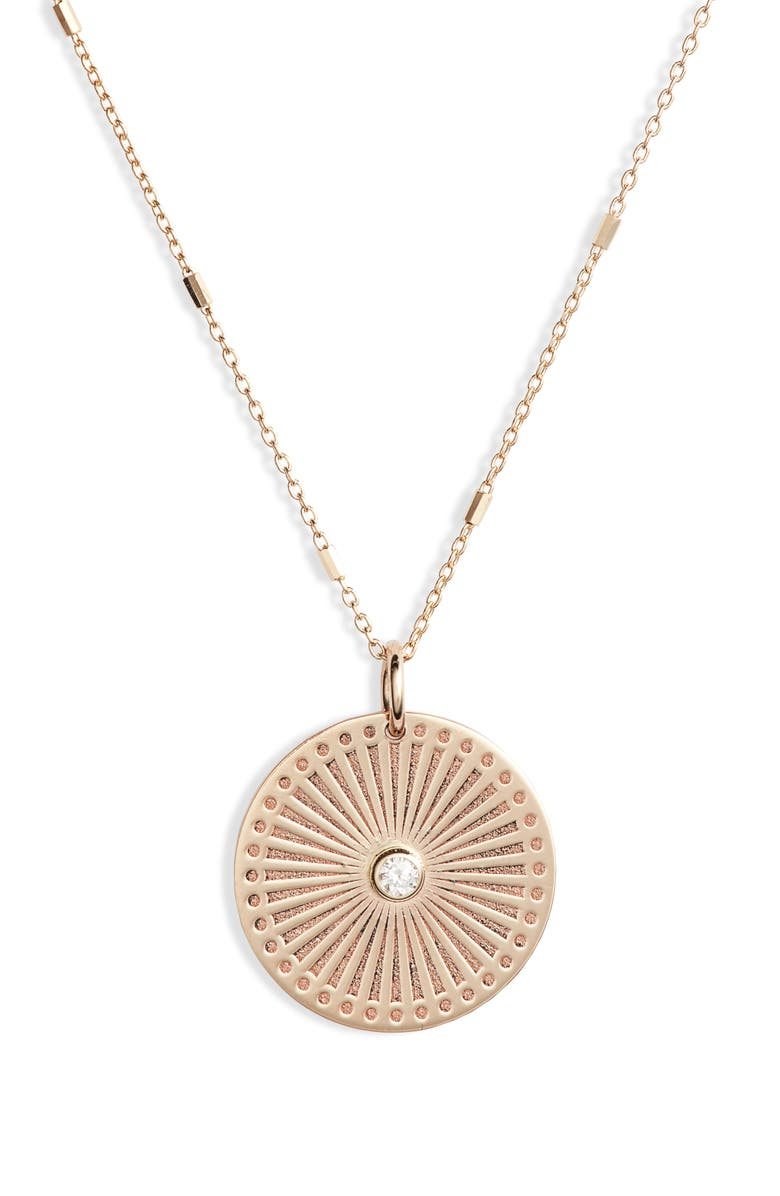 ZOË CHICCO Small Sunbeam Diamond Medallion Necklace, Main, color, YELLOW GOLD/ DIAMOND