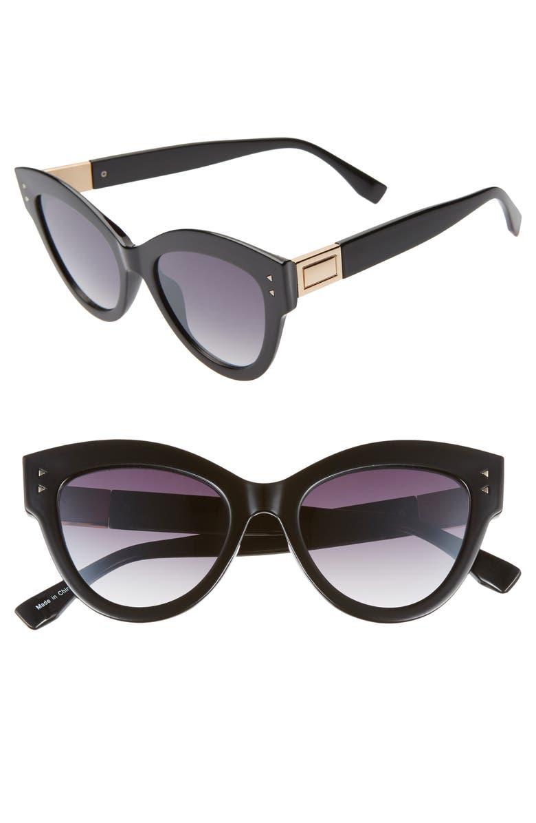 BP. 49mm Cat Eye Sunglasses, Main, color, BLACK