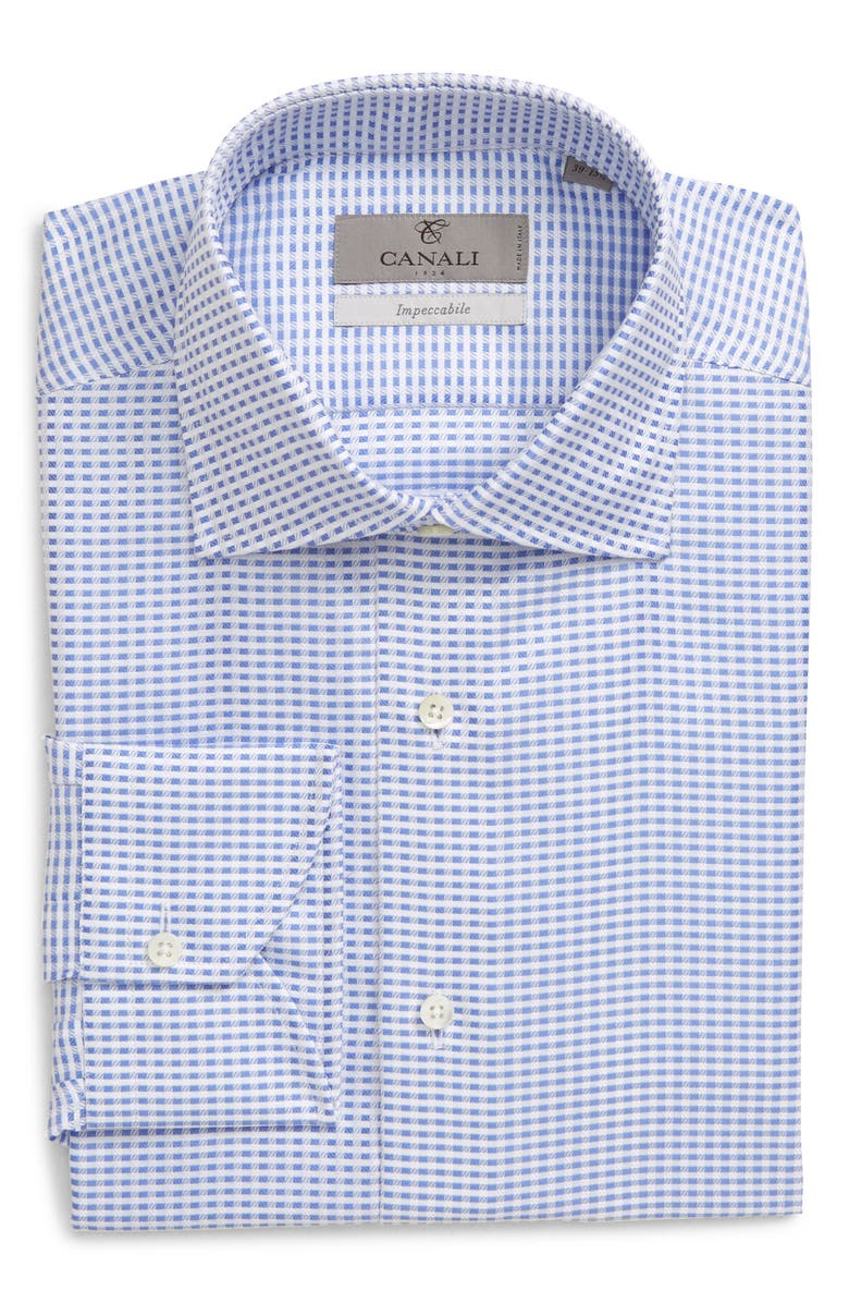 CANALI Slim Fit Check Dress Shirt, Main, color, BLUE