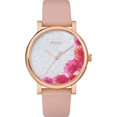 Timex Full Bloom Crystal Floral Leather Strap Watch,