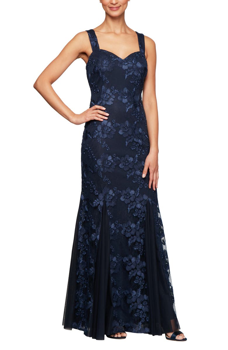 ALEX EVENINGS Embroidered Lace Trumpet Gown with Jacket, Main, color, 410