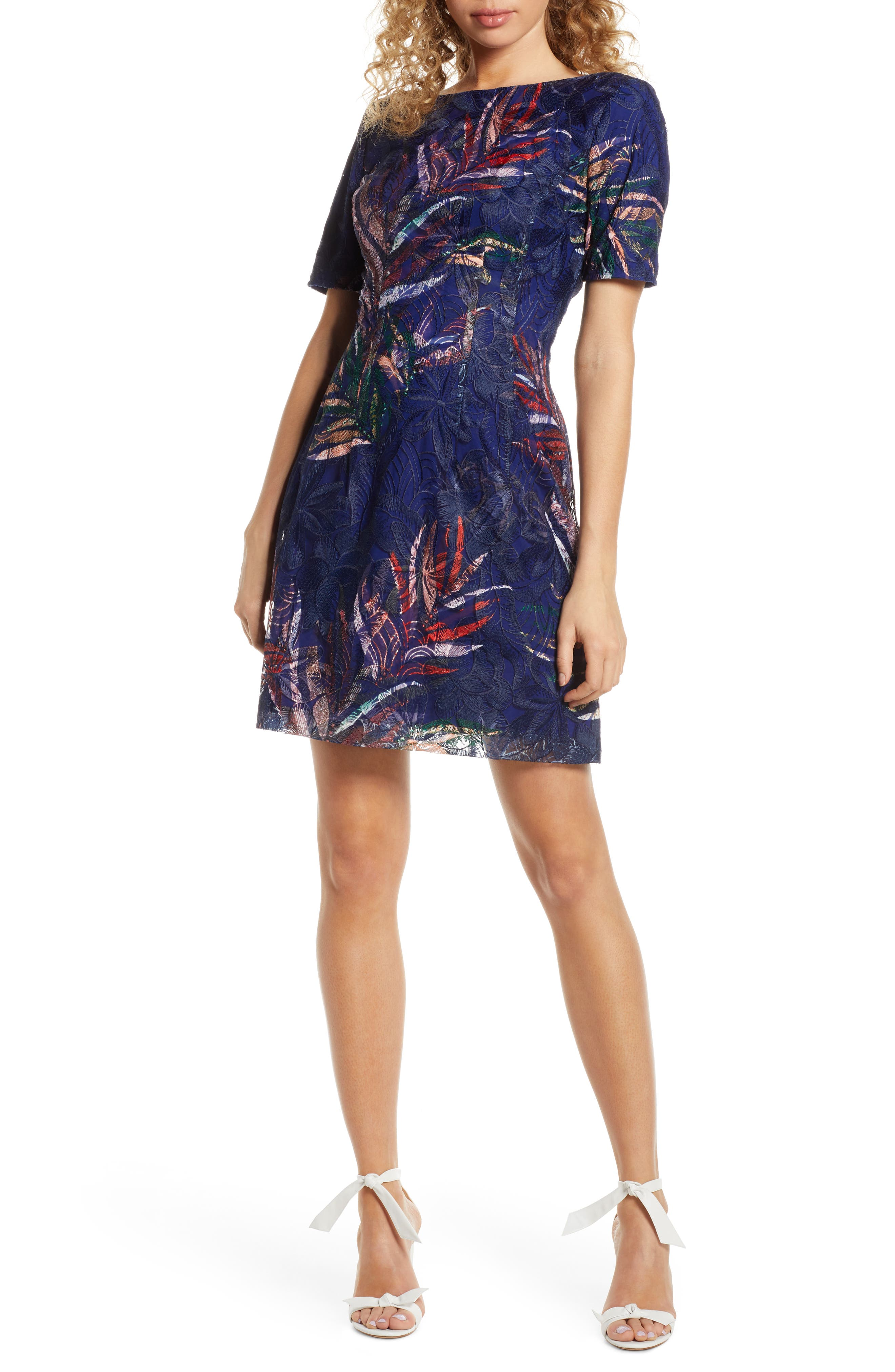 Badgley Mischka Embroidered Palm Print Sheath Dress, Blue