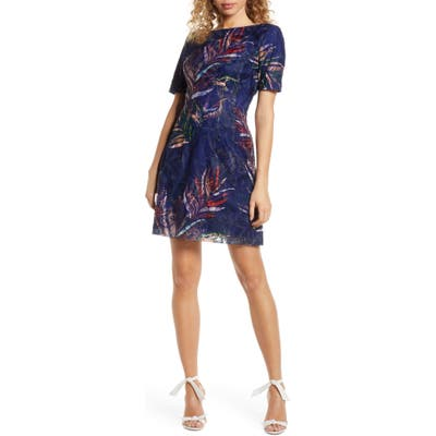 Badgley Mischka Embroidered Palm Print Sheath Dress, Blue