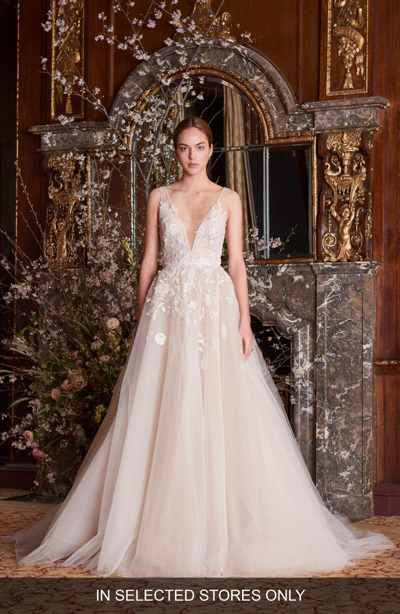 MONIQUE LHUILLIER Clementine Embroidered Ballgown, Main, color, SILK WHITE/ NUDE