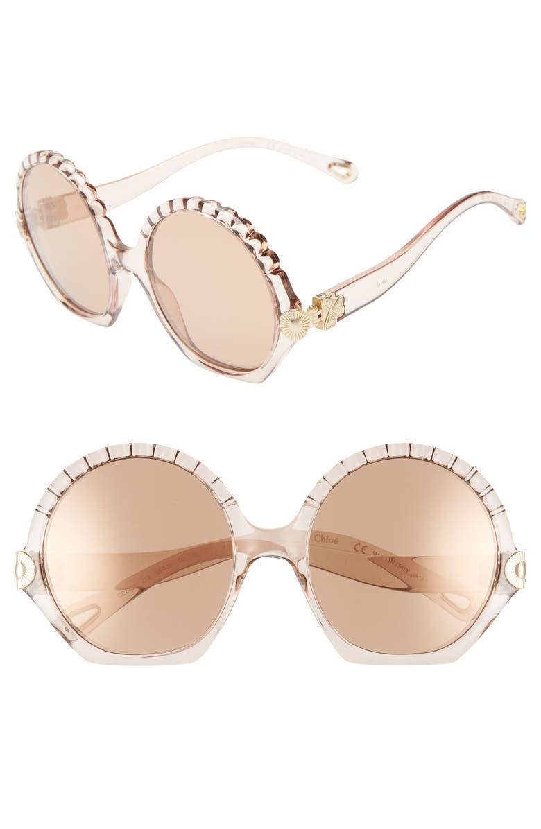 CHLOÉ Vera Seashell 56mm Round Sunglasses, Main, color, CRYSTAL TURTLEDOVE