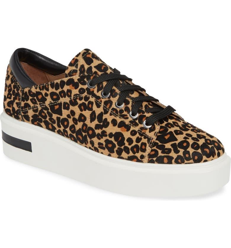 LINEA PAOLO Kendra Genuine Calf Hair Platform Sneaker, Main, color, LEOPARD PRINT CALF HAIR