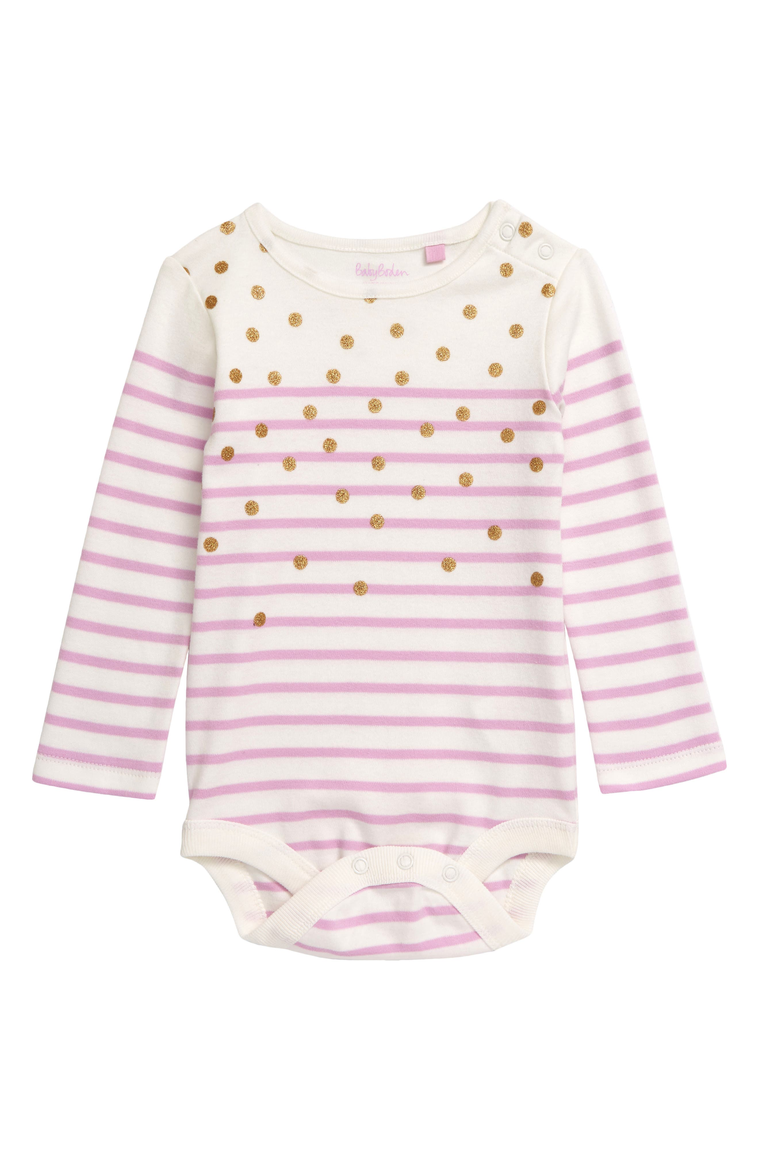 Stylish stripes and glittering polka dots pattern a too-cute long-sleeve bodysuit cut from pure cotton that\\\'s soft against baby\\\'s skin. Style Name: Mini Boden Colorful Breton Stripe Bodysuit (Baby). Style Number: 6096418. Available in stores.