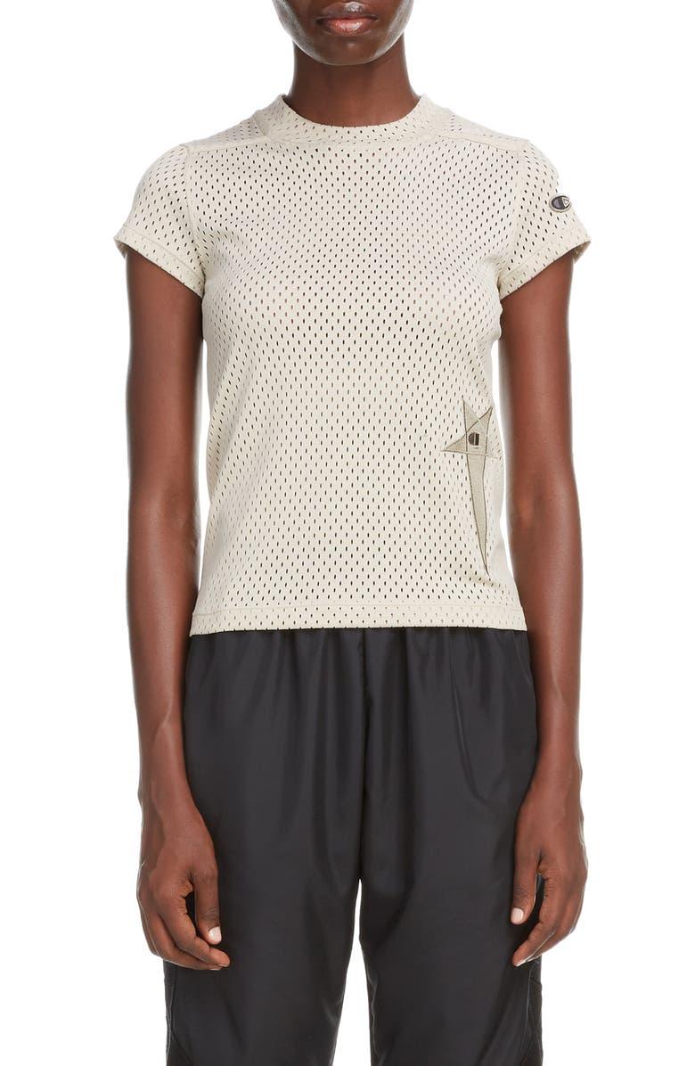 RICK OWENS x Champion Pentagram Embroidered Mesh T-Shirt, Main, color, 020