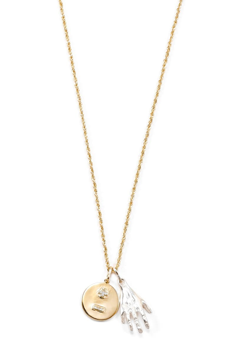 LOREN STEWART Love You More Two-Tone Diamond Charm Necklace, Main, color, GOLD