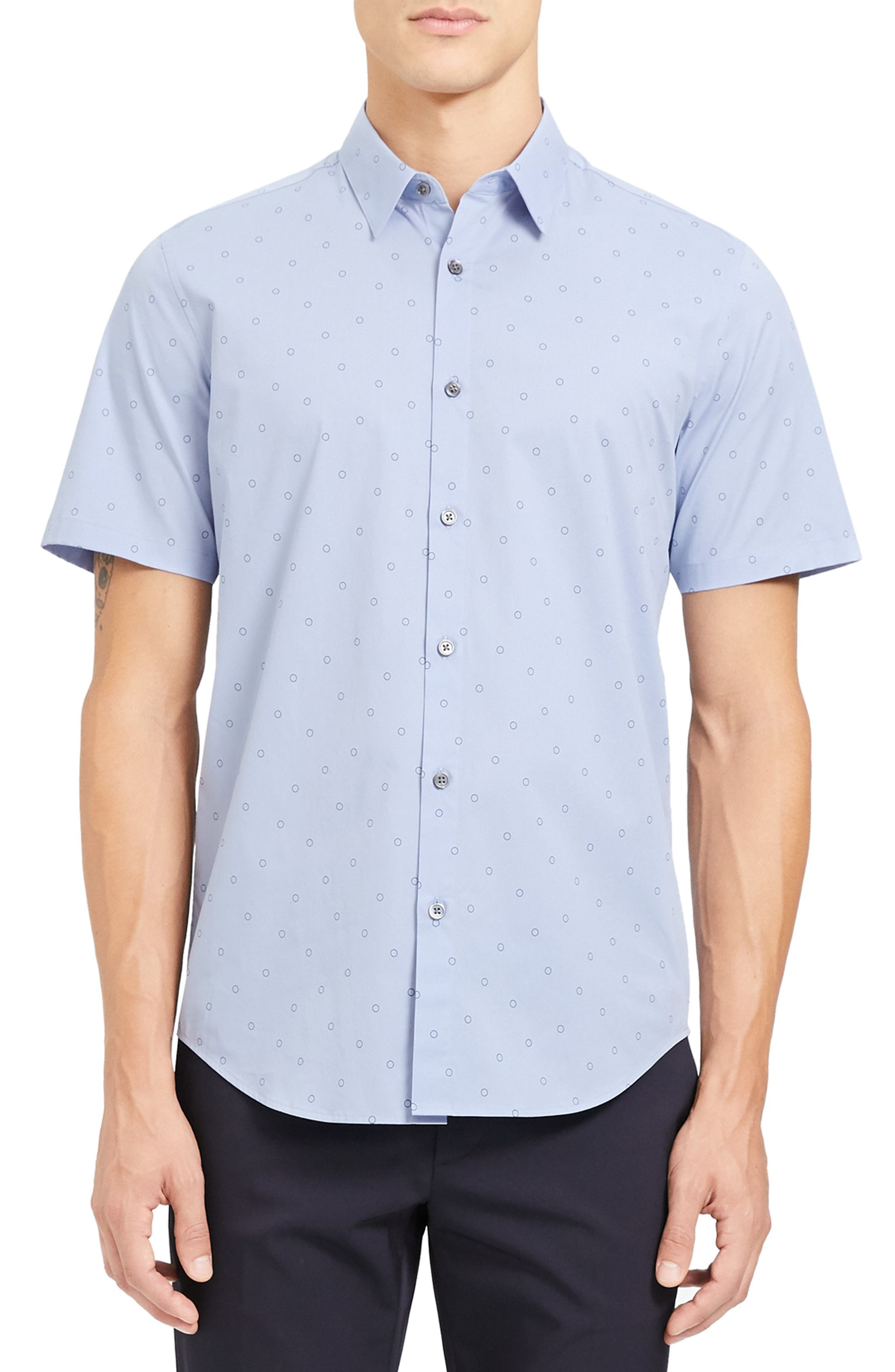 Image of Theory Irving Slim Fit Short Sleeve Button-Up Shirt